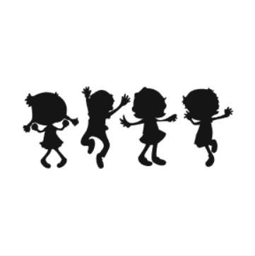 Fyra lekande barn